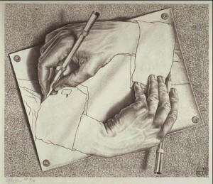 Escher drawing hands - М.К. Эшер Рисующие руки - на сайте Солипсизм.Ру